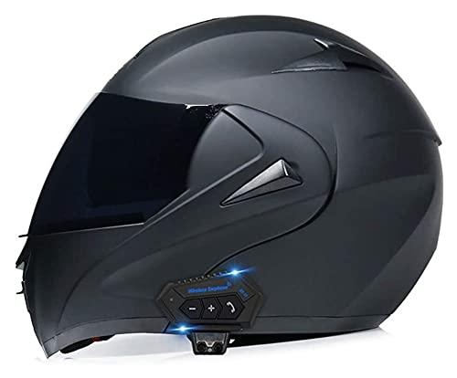 YLFC Casco de Motocicleta con Bluetooth Integrado, Certificado ECE/Dot intercomunicador FM MP3 Incorporado Sistema de comunicación Casco Modular de Motos con Gafas de Doble Protección