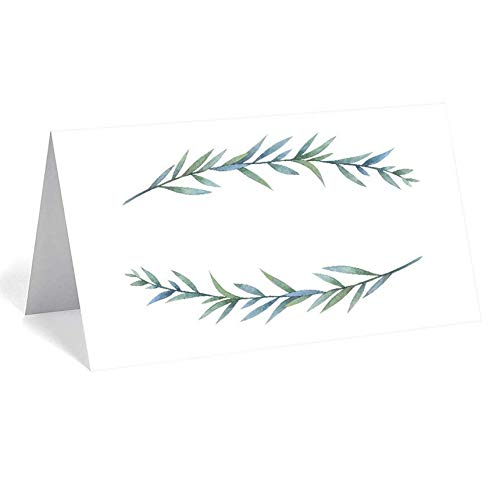 """UNIQOOO 50 Pack Greenery Table Place Cards, Seating Cards, Elegant Botanical Wreath Twig Design 