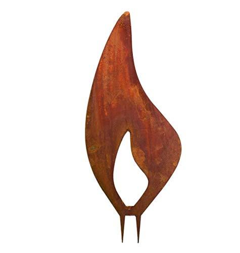 Edelrost Flamme (23) für Holz H40cm, inkl. Herz 8x6cm Weihnachten Gartendekoration Garten Deko