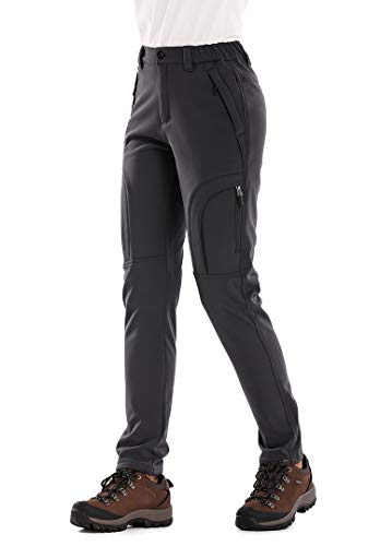 linlon Outdoor Women's Snow Ski Pants Soft Shell Fleece Lined Pants Water Resistant Camping Hiking Nylon Pants, Dark Grey L 34