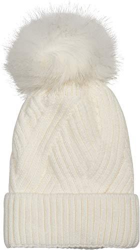 styleBREAKER Damen Strick Bommelmütze mit Rippenstrick Muster und Fleece Futter, Winter Fellbommel Mütze 04024167, Farbe:Creme-Weiß