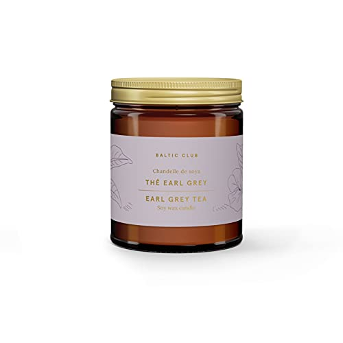 The Baltic Club Earl Grey Scented 100% Natural Soy Candle, Hand Poured, 8 oz Glass Jar with Lid, Burn Time of 45-50 hrs, Cotton Wick, Great for Gifts or Filling The Room with Your Favorite Scent