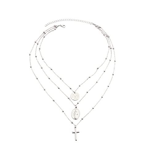 SITALI Collar con colgante de retrato de la Virgen de la Vendimia de la Moda Clásica Cruz Joyería Religiosa Cadena, plata