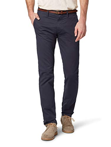 TOM TAILOR Herren Hosen & Chino Travis Regular Chino mit Gürtel Outer Space Blue,33/32