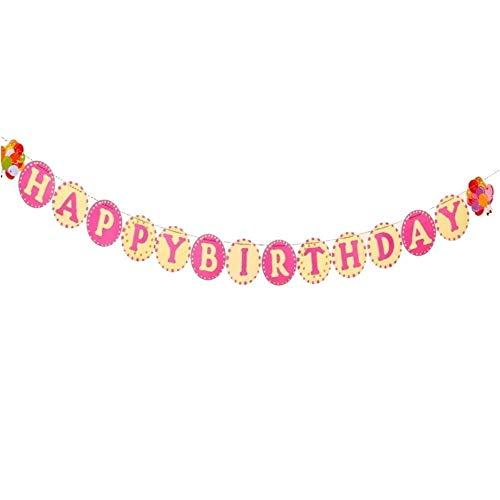 DIWULI, Happy Birthday slinger om op te hangen, spreukenband, wimpel-ketting, verjaardagsslinger, lange verjaardagsbanner voor verjaardagsfeest, tuinfeest, motto party, decoratie XX-Large Cr�me-roze