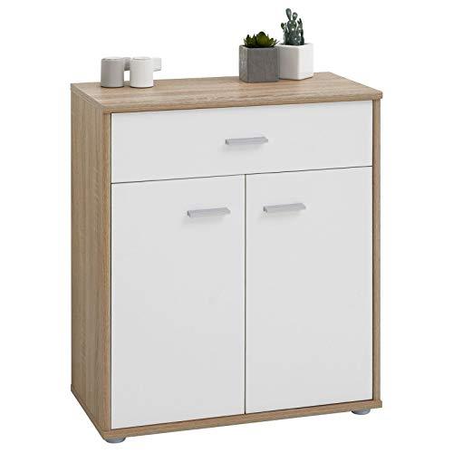 CARO-Möbel Kommode Sideboard Schrank Tommy in Sonoma Eiche/weiß, Anrichte mit 1 Schublade und 2 Türen