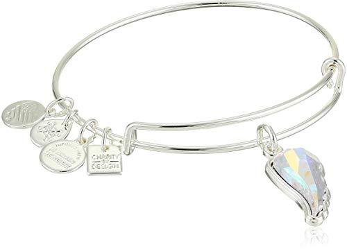 Alex and Ani Crystal Wing EWB Bangle Bracelet, Shiny Silver, Expandable