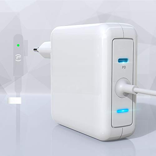 Eletrand Caricatore Mac Book pro 60W 1 L Tip + 18W Caricatore USB C Alimentazione, Alimentatore PD USB C per Mac Book Pro Pad Pro, Phone, Galaxy e altro