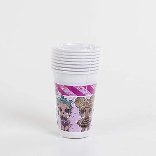 Gabiano Lol Surprise Pack 8 Vasos Plástico 200ml, Color Rosa (76988)