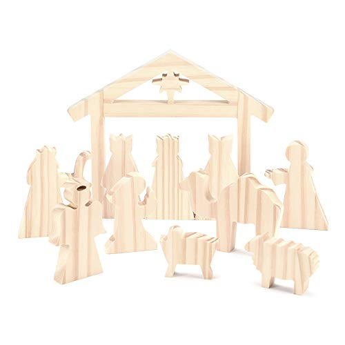 pattnse Easter Resurrection Scene Nativity Ornament Set Easter Traditional Wooden Decoration Minimalist Sculpture Cross Resurrection Desktop Decor for Home Table Party Wedding