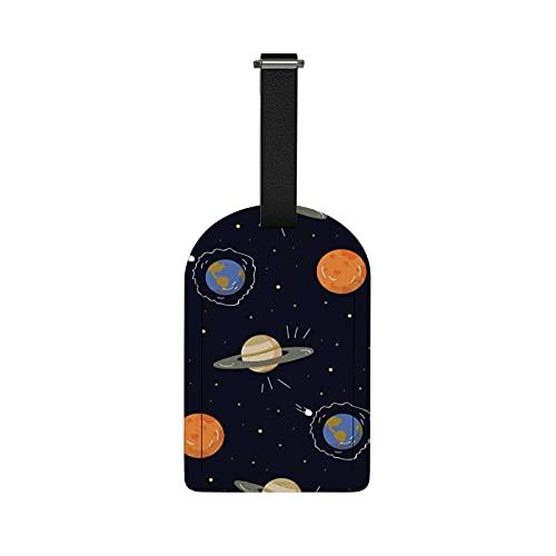 Orediy - Etichette da viaggio per bagagli, con nome, carta d'identità, pianeti spaziali, valigie, etichette in pelle PU, 1 pezzo