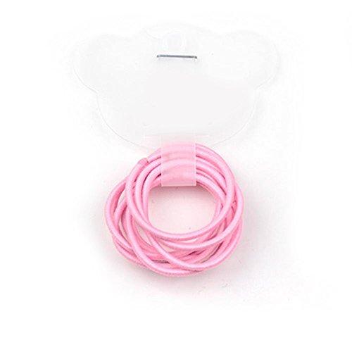 La Tartelette 2.4 cm Elastic Bands Hair Ties Children Rubber hair headbands - 10 Pcs (Pink)