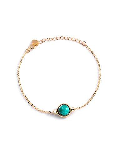 Dalwa 925 Silber Armband Damen 14 Karat 585 Gold Vergoldete Silberarmkette mit Edelstein Türkis Amazonit - Charm inkl. Geschenkverpackung