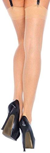 Leg Avenue Damen Straps Strümpfe Nylon 20 DEN Hautfarben Transparent Matt Optik mit rückwärtiger Naht Einheitsgröße 36 bis 40