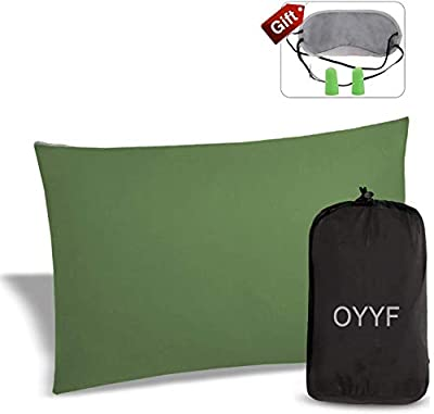 OYYF Small Camping Pillow for Sleeping, Compressible Lightweight Camp Pillow, Removable Cover with Storage Bag, Green