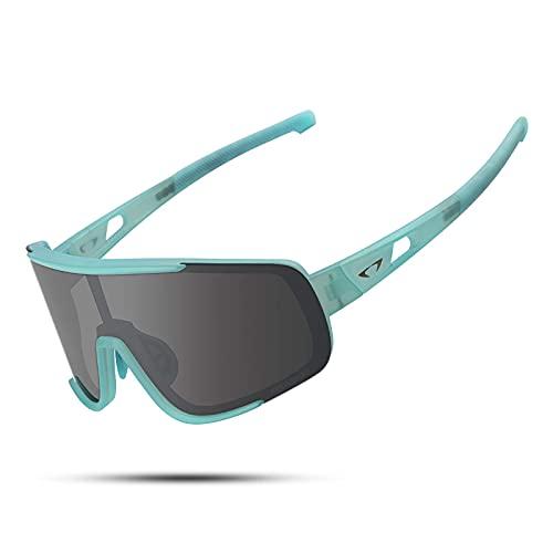 Gafas de sol deportivas polarizadas UV400 con marco TR90 para hombres y mujeres, diseño retro, gran vista MTB Road Bike Gafas de béisbol para correr, ciclismo (verde gris)