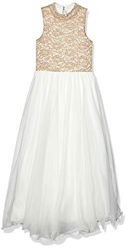 Speechless Big Girls Mock Neck Sparkle Bodice Maxi Dress, White/Tan, 7