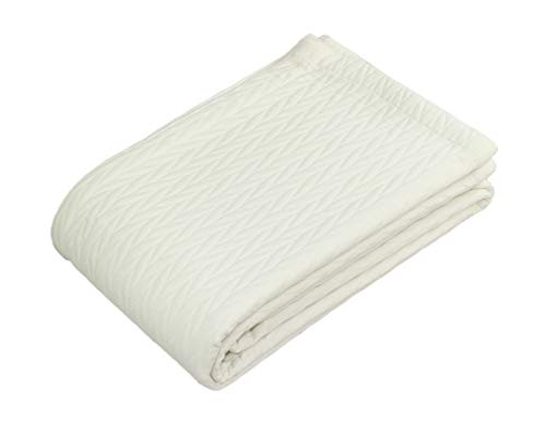 COTTON CRAFT - 100% Super Soft Premium Cotton Matelassé Leaf Thermal Blanket or Coverlet - King Ivory