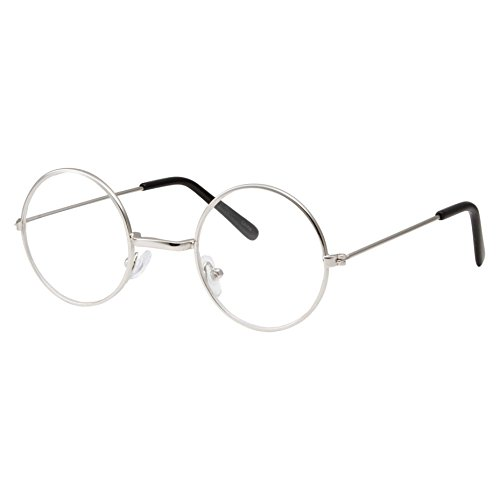 grinderPUNCH Kids Size Non-Prescription Glasses Round Circle Frame Clear Lens Costume (Age 3-10) Silver