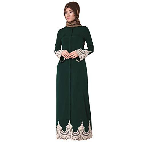 NINGSANJIN Abaya Muslim Damen Roben Frauen einfarbig Kleid Moslemische Islamische Gebetskleidung Moschee Roben Ramadan Kleid (Grün,L)