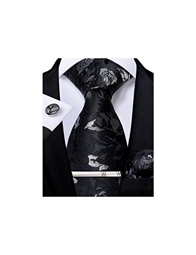 DiBanGu Mens Formal Tie and Pocket Square Silk Black Silver Floral Necktie Cufflink Tie Clip Set with Gift Box