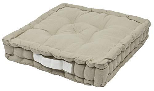 Alphadeco Sitzkissen Uni 40x40x6cm aus 100% Baumwolle - mehrere Farben - Stuhlkissen Sitzkissen Sitzauflage Eckbank (Leinen/Beige)