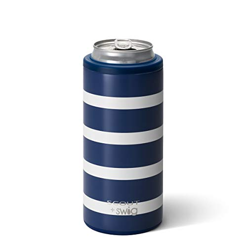 Swig Life 12oz Triple Insulated Skinny Can Cooler, Dishwasher Safe, Double Walled, Stainless Steel Slim Can Coozie for Tall Skinny Cans in SCOUT Nantucket Navy Pattern (Multiple Patterns Available)