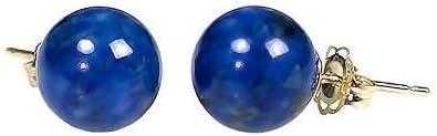 Trustmark 14K Yellow Gold 10mm Natural Blue Lapis Lazuli Ball Stud Post Earrings