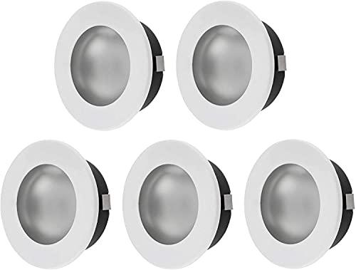 Pack de 5 focos empotrables 2 en 1, G4, 12 V, metal lacado en blanco, encaja en caja de interruptor de 60 mm, cubierta de cristal mate + transparente, instalación Ø 60 x 21 mm