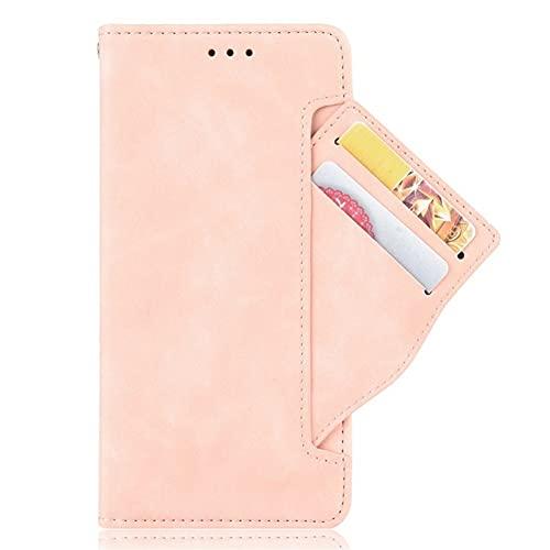 1fortunate telefonväskor För LG Q92 5G 2020, läder kortplats Väska Skinn Avtagbar flipväska Luxury Cover Telefonhållare för LG Q92 LG Q 92 92Q (Färg : Rose gold, Material : For LG Q92)