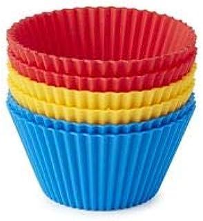 Lot de 6 caissettes à cupcakes réutilisables en silicone anti-adhésif Rouge/jaune/bleu