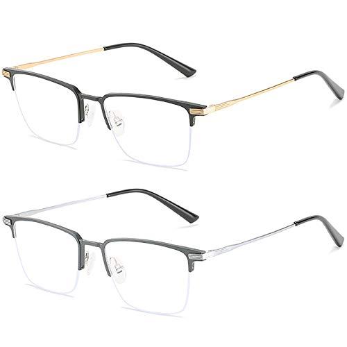 Bias&Belief Pack de 2 Gafas con Bloqueo de luz Azul Juego de computadora Gafas Marco de anteojos de Medio Marco Gafas para Juegos de Lectura Anti-Fatiga Ocular para Mujeres y Hombres,D