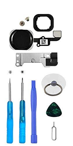 LTZGO Hauptknopf für iPhone 6S/6S Plus (Schwarz) Home Button mit Flexkabel Taste inkl. Metal Bracket und die Schutz Armatur Gummidichtung &Reparatur-Tool-Kit Werkzeugset für einfache Installation