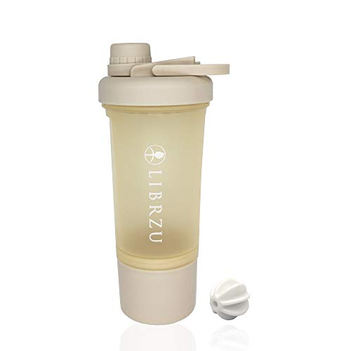 unspecific LIBRZU Separable Protein Shaker Bottles for Sports, Macaron Color (2020 Model),Plastic Wide Mouth Gyms Sports Shaker Cup with Mixer. (Beige)