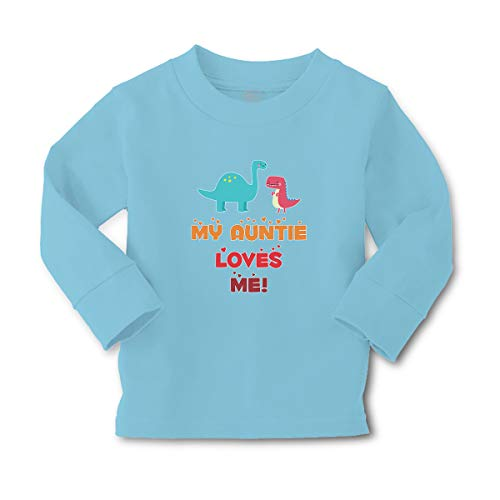Kids Long Sleeve T Shirt My Auntie Loves Me! Aunt Cotton Boy & Girl Clothes Funny Graphic Tee Light Blue Design Only 5 6T