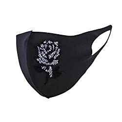 Rose Rhinestones Black Cloth Face Mask
