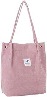 Corduroy Totes Bag Large-capacity shoulder bag (pink)
