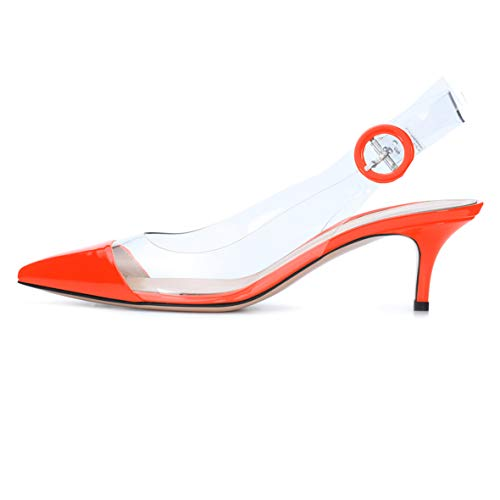 Sammitop Women's Slingback Sandals Pointed Toe Kitten Heel Dress Shoes Orange Pumps US7.5
