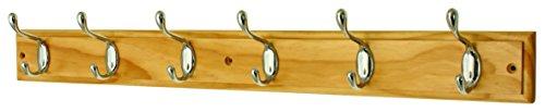 keypak 6-Hook Wall-Mounted Coat Rack, Pine, Chrome