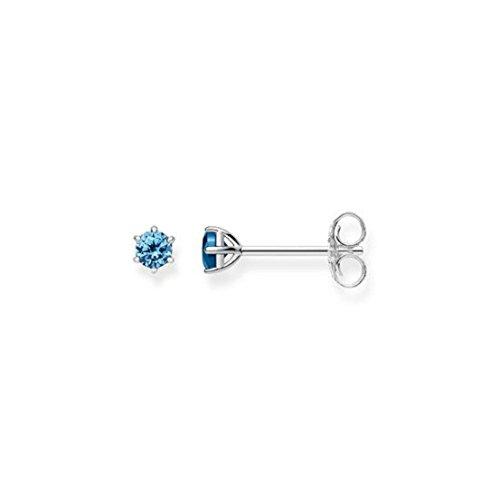 Thomas Sabo - Pendientes de botón de Mujer 'Glam & Soul', Plata de Ley 925 con Piedra Azul