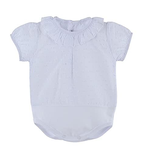 CALAMARO - Body Camisa Bebé Plumeti Verano bebé-niños Color: Blanco Talla: 12M