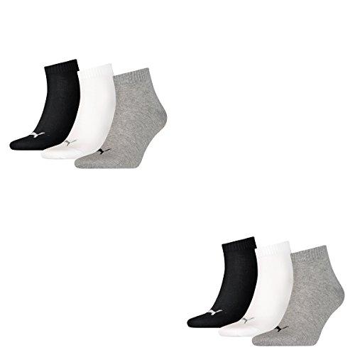 PUMA Unisex Quarters Socken Sportsocken 6er Pack (grey-white-black / grey-white-black 882, 39-42)