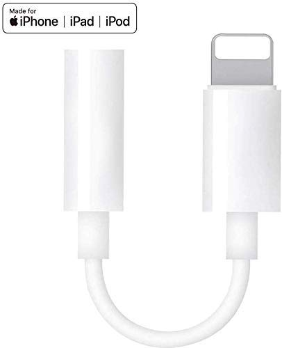 Lightning to 3.5mm Headphone Jack Adapter for iPhone(Apple MFI Certified),Connector Aux Audio Earphone Stereo Cable for iPhone 11 Xs Max XR X 8 7 6 Plus Support Music Control Function & iOS 12-White