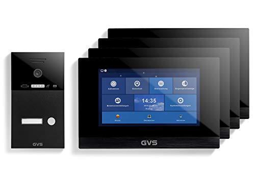 GVS Videoportero IP IP65 con RFID, monitor de 4 x 10 pulgadas, aplicación, cámara HD de 120°, apertura de puertas, memoria de 32 GB, interruptor PoE, 1 set para vivienda familiar, AVS4266U