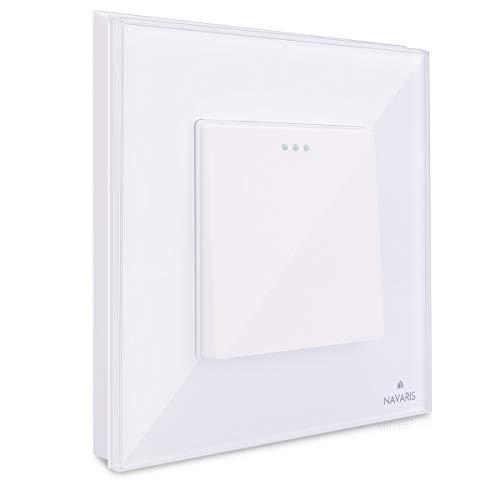 Navaris Interruptor para pared con marco de cristal - Elegante marco de cristal con interruptor para luz - Placa empotrable en blanco
