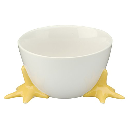 BIA Cordon Bleu Bowl with Chicken Feet -- White Stoneware Ceramic Bowl with Feet, 19 Oz (Easter Candy Dish, Chicken Kitchen Decor)