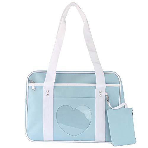Ita Tote Handbag Purse Heart Clear Window 2 in 1 Cute Ita Shoulder Bag Hobo Clutch, Blue
