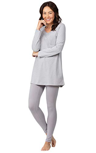 Addison Meadow Cozy Womens Pajamas - Womens PJs Sets, Gray Stripe, M, 8-10