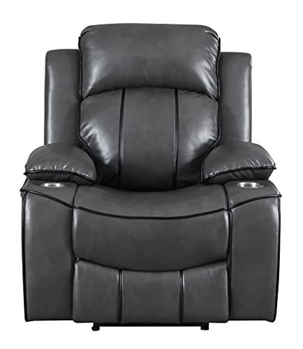 Global Furniture USA Grey Glider Recliner with Black Welt Sofas, Standard