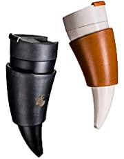 YUNSYE Goat Horn mug real Leather Thermos Mug- Coffee cup Shaped horn - portable Thermos Cup Christmas gift for sports,travel and